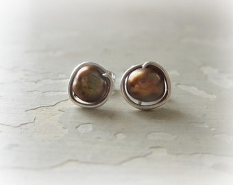Brown Pearl Studs, Freshwater Pearl Posts, Sterling Stud Earrings,Real Pearl Posts,Pearl Stud Earrings,Brown Silver Earrings,Wire Wrap Post