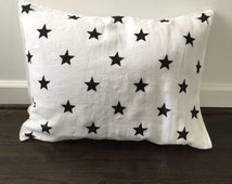 Black and White Star Pure Linen Pillowcase / Starry Night / Kids Bedding / Premium White Linen / Hand Stamped
