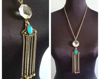 Vintage Chandelier Crystal Turquoise Tassel Necklace- OOAK, Assemblage,  Statement Dangle necklace