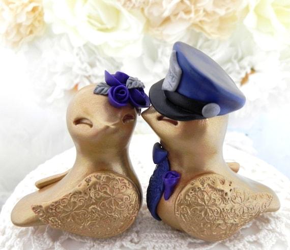 Police Love Birds Wedding Cake Topper, Gold, Silver and Dark Purple, Bride and Groom Keepsake, Fully Customizable
