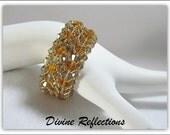 Crystal Bracelet, Swarovski Crystal Bracelet, Topaz and Smoke Crystal Bracelet, Gold Filled, Gift for Her