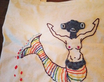 Hammerhead Shark Mermaid canvas tote bag, Shark Week , Custom