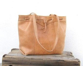 Tote Drawstring Tan Shopper Distressed Leather Shoulder Bag