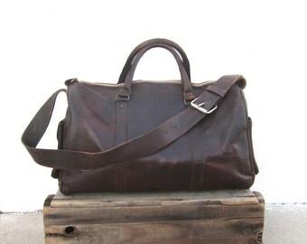 Brown Duffle Bag Goat Skin Leather Rugged Tan Travel Bag