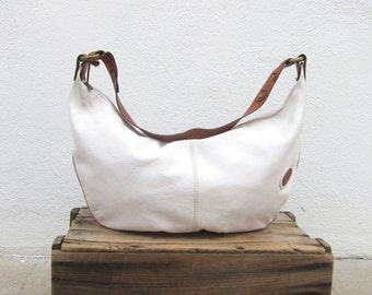 Giant White Hobo Slouchy Italian Leather Purse