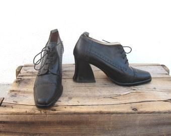90s Black Chunky Heeled Brogue Oxfords Italian Size 8
