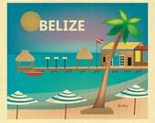 Belize Art, Belize Print, Belize Wall Art, Belize Traveler's Art Gift,  Vacation Belize Poster, Belize Wedding Art Print  - style E8-O-BELI