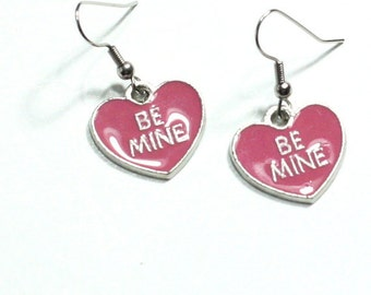 Pink Be Mine Conversation Heart Enamel Charm Earrings in Pink and silver / Valentine / holiday jewelry / girls earrings