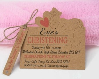 x10 Christening Baptism Invitations Invite Tags Baby Girl Baby Boy Personalised