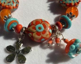 Lampwork Bracelet, SEDONA SUNSET