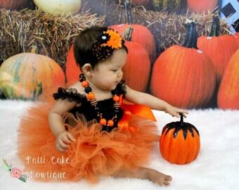 Baby Girl Orange Tutu, Halloween Photo Prop, Little Girls Tulle Skirt, 1st Birthday Outfit, Baby Tutu, Newborn Tutu, Tutus for Toddlers