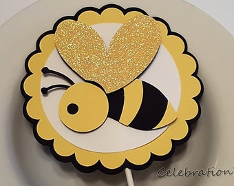 Little Bumble Bee Cake Topper In Yellow Black And White For Birthday Or Baby