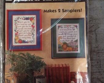 Vintage Bucilla Stamped Cross Stitch Grace's Sampler Pair Kit