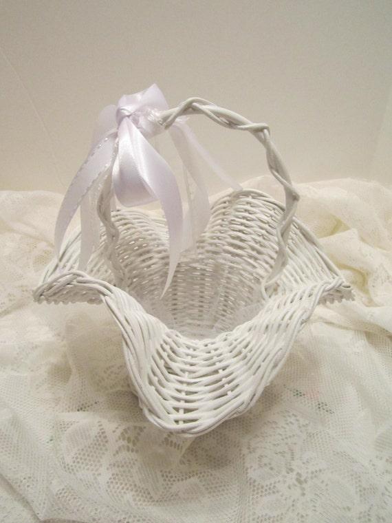 Flower Girl Basket - White Wicker Ruffled Rim Basket - Dressed Up and Wedding Ready