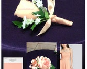 New Artificial Bellini Rose Bout, Peach Rose Boutonniere, Peach Bout, Bellini Wedding Flowers