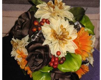 New Artificial Mossy Oak New break Up Camouflage Bridal Bouquet, Camo Wedding Bouquets, Camo Bridal Flowers