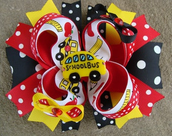School hair bow back to School Stacked Boutique Hair Bow school bus hair bow large hair bow large boutique hair bow hair clip