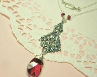 Sale!  Valentine Necklace, Red Swarovski Necklace, Swarovski Necklace, January Birthday, Red Crystal Necklace