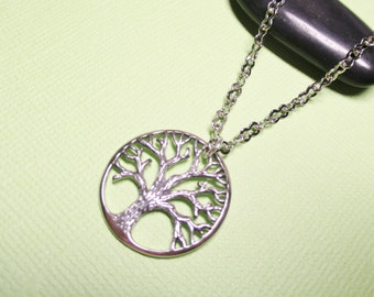 Sterling Silver Tree of Life Necklace, Family Tree Pendant Necklace, Tree of Life Charm Necklace