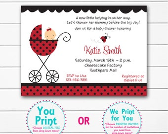 Ladybug Baby shower invitation  -  baby lady bug shower invitaton --  you print or I print