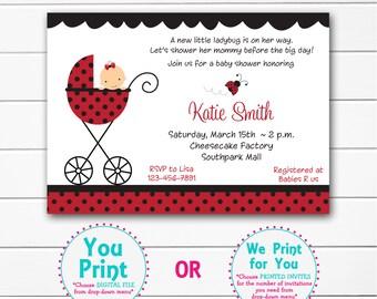ladybug baby shower invitation baby lady bug shower invitaton you print or i