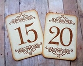 Wedding Table Numbers Vintage Style Double Scroll Cards