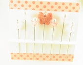 Decorated Sewing Pins Pink Butterfly with Flowers and Genuine Rose Quartz Stars