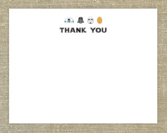 Star Wars Thank You Cards set of 20 with matching envelopes & return address printing; customizable for girls and boys