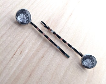 hairpins with photo (ferris wheel), pair of bobbypins silver color with 12mm glass cabochon