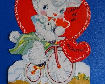 Vintage Valentine Little Lamb on a bike Sweet 1950's  or Earlier Retro Large