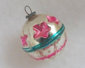Vintage Christmas silver glass ball ornament pink starburst indents aqua stripes flower bottom feather tree ornament