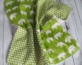 Ready to Ship // Elephants and Dots Organic Fabric with Creme Colored Minky Security Blanket Lovey