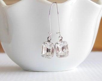 Gift Clear earrings Crystal earrings Emerald cut earrings Vintage earrings Bridesmaid earrings Bridal earrings Clear dangle earrings Gift