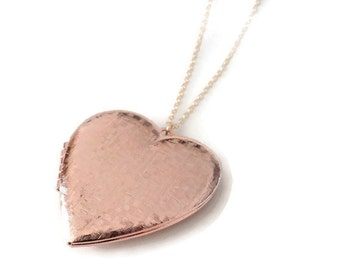 Gift Heart locket necklace Locket Heart locket Locket necklace Rose gold locket Rose Gold locket necklace Photo locket Picture locket