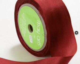 3 yds BURGUNDY Silk Ribbon 1.25 inches wide   cheswickcompany