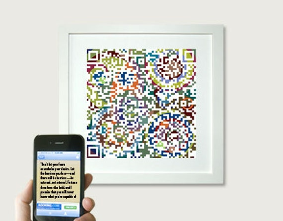 "2017 Graduation Gift - Inspirational her art - ""Don't let your fears overwhelm your desire... Sheryl Sandberg"" or personalized message - QR"