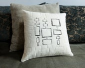 Mid Century Modern design linocut and quilted pillow in size 12x12 home decor, modern gift for him, geometric decor, modern home