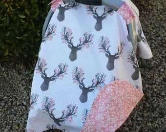 Baby Car Seat Canopy - Baby Car Seat Cover - Pink Car Canopy - Girls Car Seat Canopy  - Deer Car Canopy - Antler Canopy - Baby Shower Gift