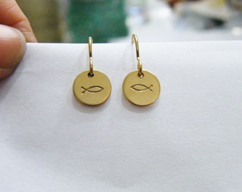 gold dangle Ichthys earrings hand stamped discs 14kt gold fill