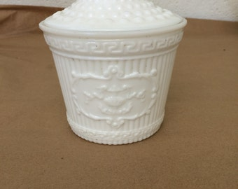 Vintage White Milk Glass Bowl with Lid