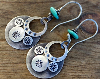 Sleeping Beauty Turquoise Sterling Earrings - Boho Tribal Earrings-Sterling Silver Crescent Earrings-Bohemian Earrings -ON SALE-Gift for Her