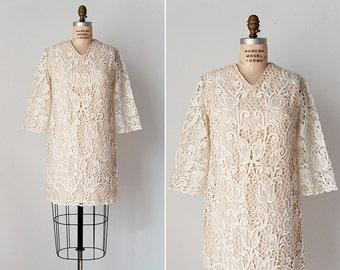 vintage 1970s dress / 70s lace dress / white lace mini dress / Angels Flight dress