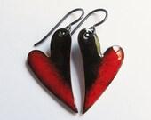 Red heart dangle earrings Red niobium earrings Sweetheart enamel jewelry Small red black heart drops