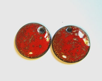 Enameled copper charms Red and gold enamel earring charms Jewelry making supplies Artisan earring components Earring findings