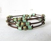 Memory Wire Bracelet Rustic Turquoise Beaded Bracelet, Antiqued Copper Beaded Bracelet, Turquoise Wrap Bracelet