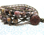 Leopard Jasper Leather Wrap Bracelet, Brown, Red, Yellow, Black, Pink, Tan, Olive Green Double Wrap Bracelet, Copper Button Bracelet