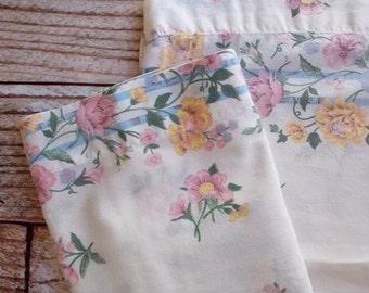 Vintage Pillowcase Set / Pink Yellow & Blue Floral / Vintage Pillowcase