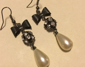 Black Bow Tie Rhinestone Pearl Drop Earrings