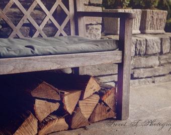 "Fine Art Photograph ""Firewood "" Appalachian Winter Photography Pastel Wall Art Print Rustic Photograph Cabin Decor Rock Neutral Country"
