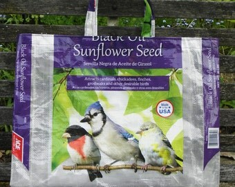 NEW LOW PRICE,  Recycled Upcycled Repurposed Grodery Market Utility Tote Bag for Bird Lovers